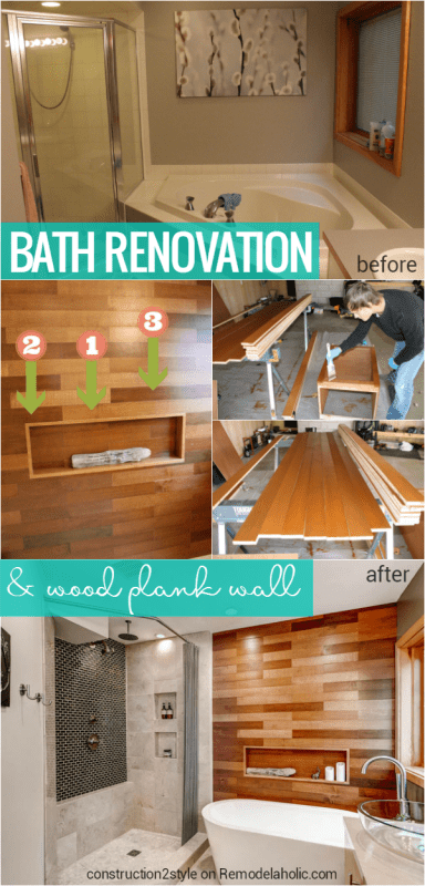 Beautiful bathroom renovation with DIY wood plank wall @Remodelaholic