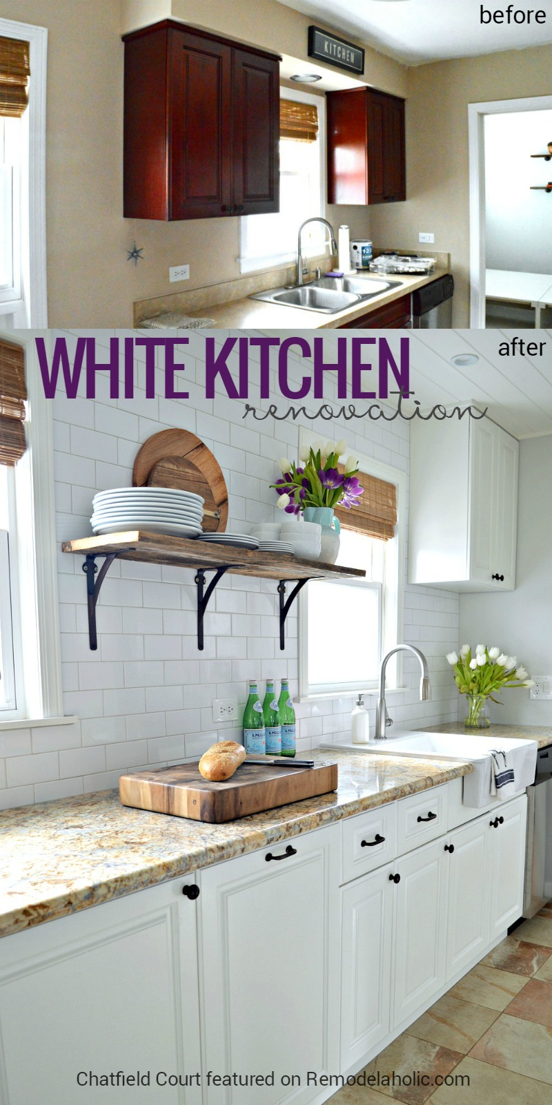 White Kitchen Renovation remodelaholic | diy plank ceiling in a beautiful white kitchen
