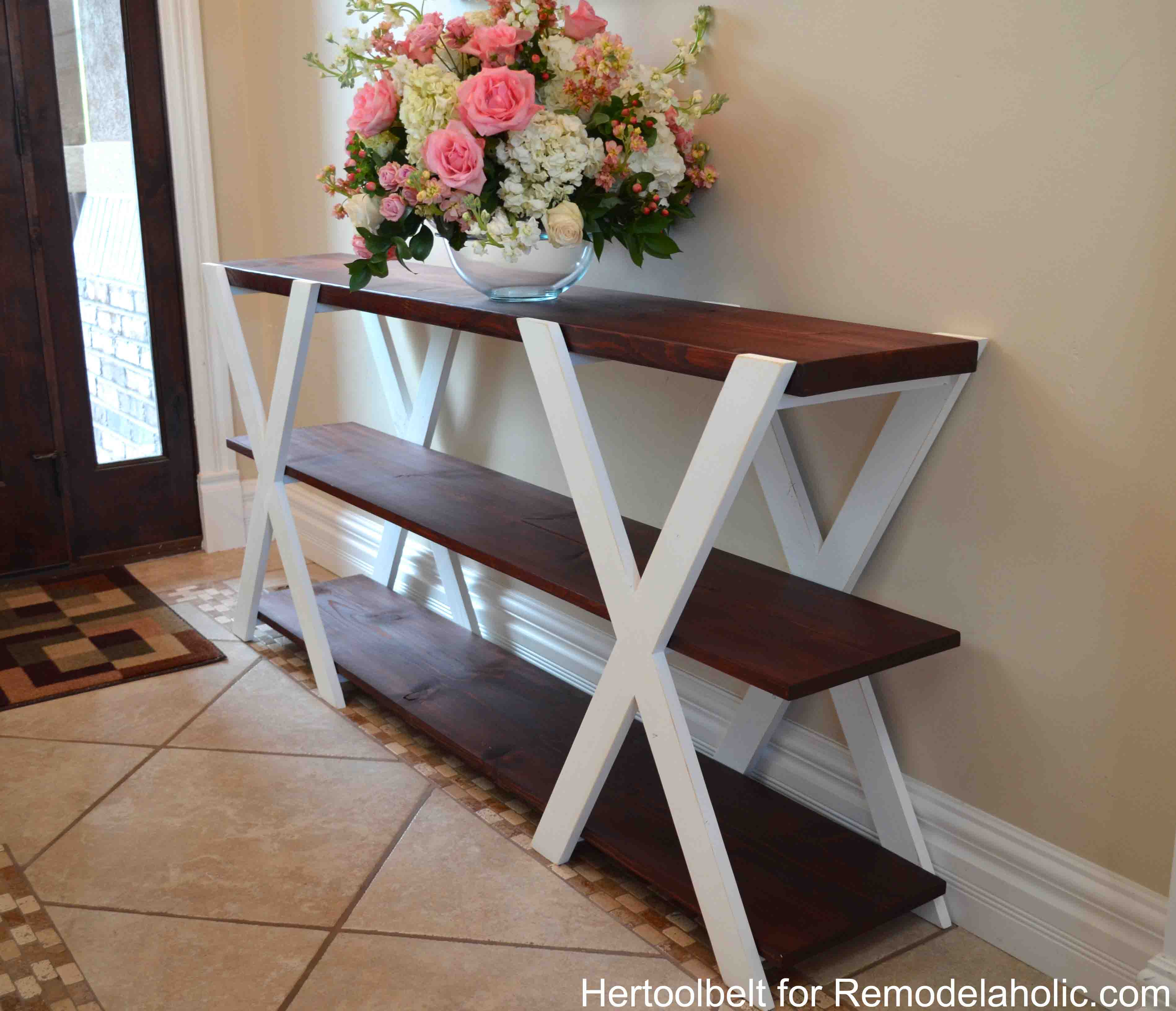 remodelaholic diy double x console table. Black Bedroom Furniture Sets. Home Design Ideas