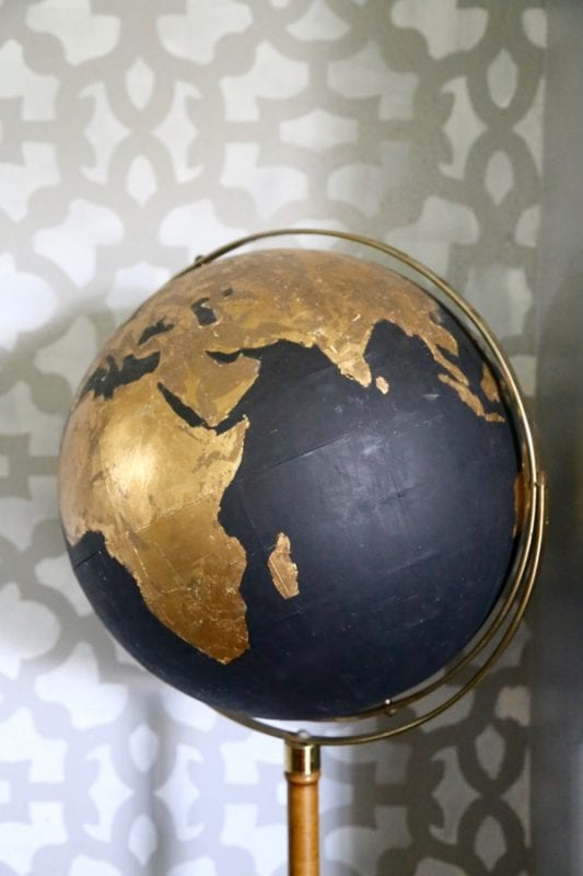 DIY Gold leafing on a repurposed globe, by Love and Renovations featured on @Remodelaholic