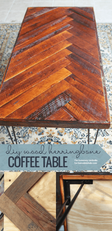 This wood herringbone coffee table has beautiful mid-century style hairpin legs -- and you can DIY it this weekend! Easy to make but it looks so chic. Use reclaimed wood or new wood for a beautiful coffee table.