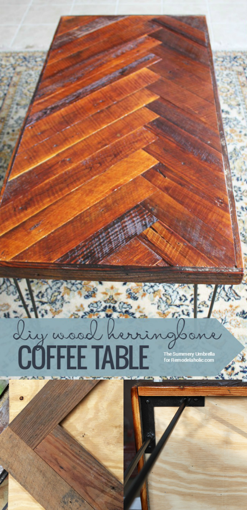 This Wood Herringbone Coffee Table Has Beautiful Mid Century Style Hairpin  Legs    And