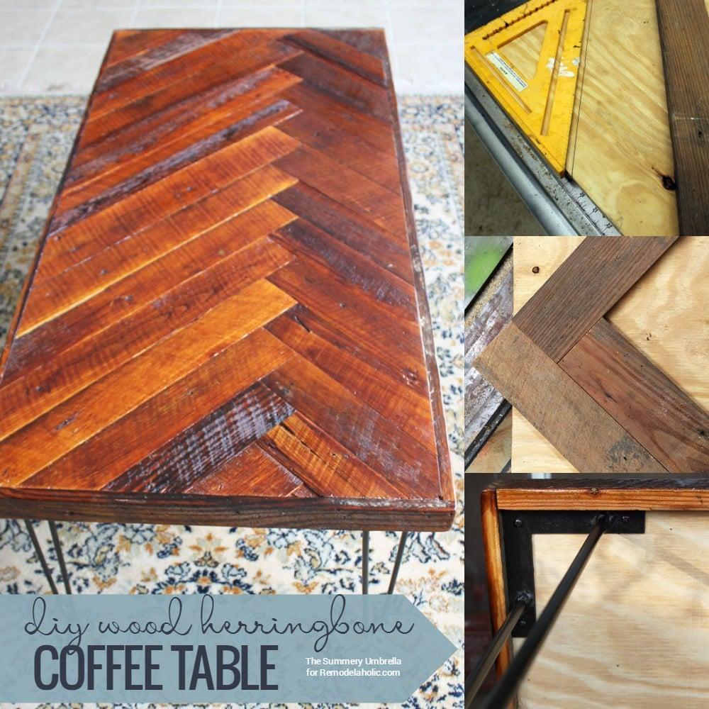 remodelaholic diy wood herringbone coffee table with hairpin legs. Black Bedroom Furniture Sets. Home Design Ideas