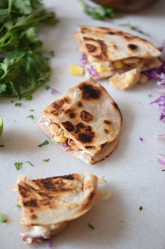 Chicken Taco Quesadillas using cilantro and cabbage