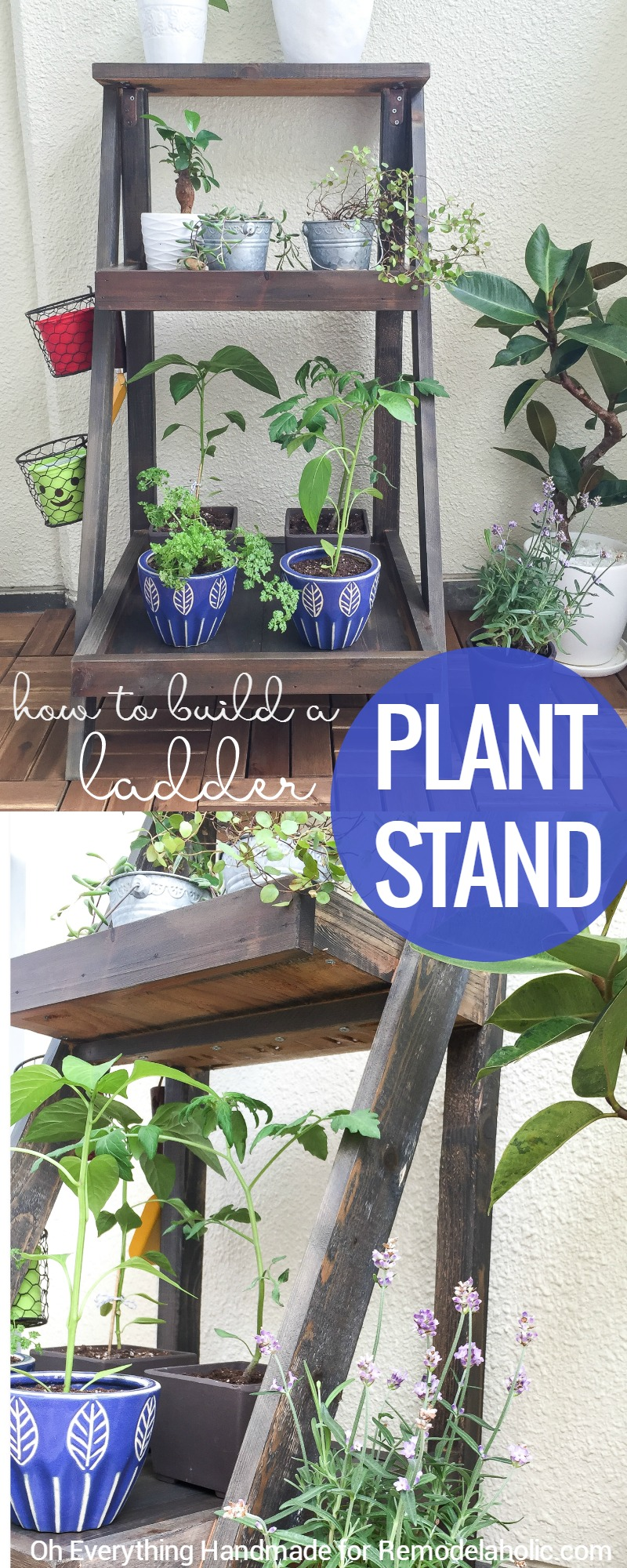 Remodelaholic tutorial how to build a ladder plant stand How to build a tiered plant stand