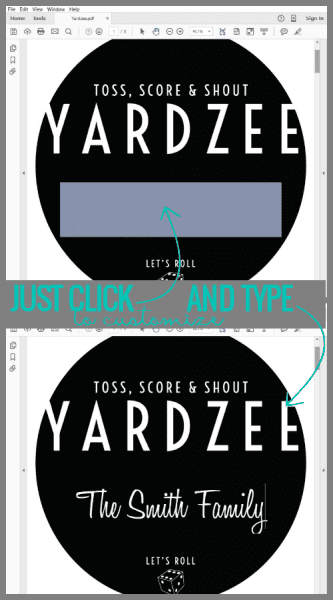 How to customize the printable Yardzee label from @Remodelaholic