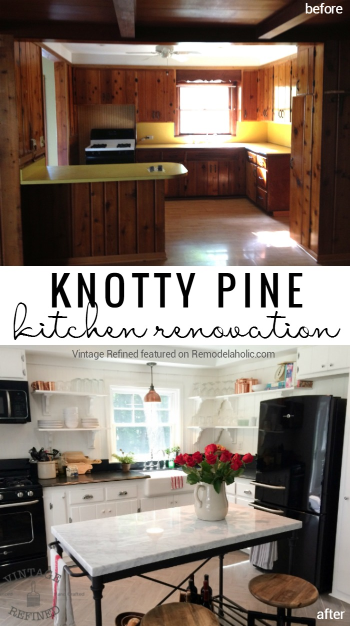 Knotty Pine Kitchen Cabinet And Paneling Renovation Remodelaholic