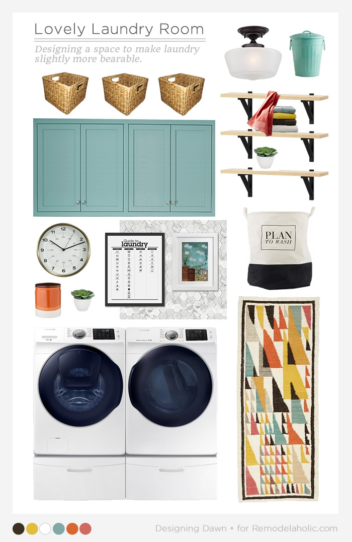 Most laundry rooms are not spacious and dreamy like those in magazines. Use these colorful, fun, and functional laundry room ideas to create a lovely real-life laundry room. Designing Dawn for Remodelaholic.com