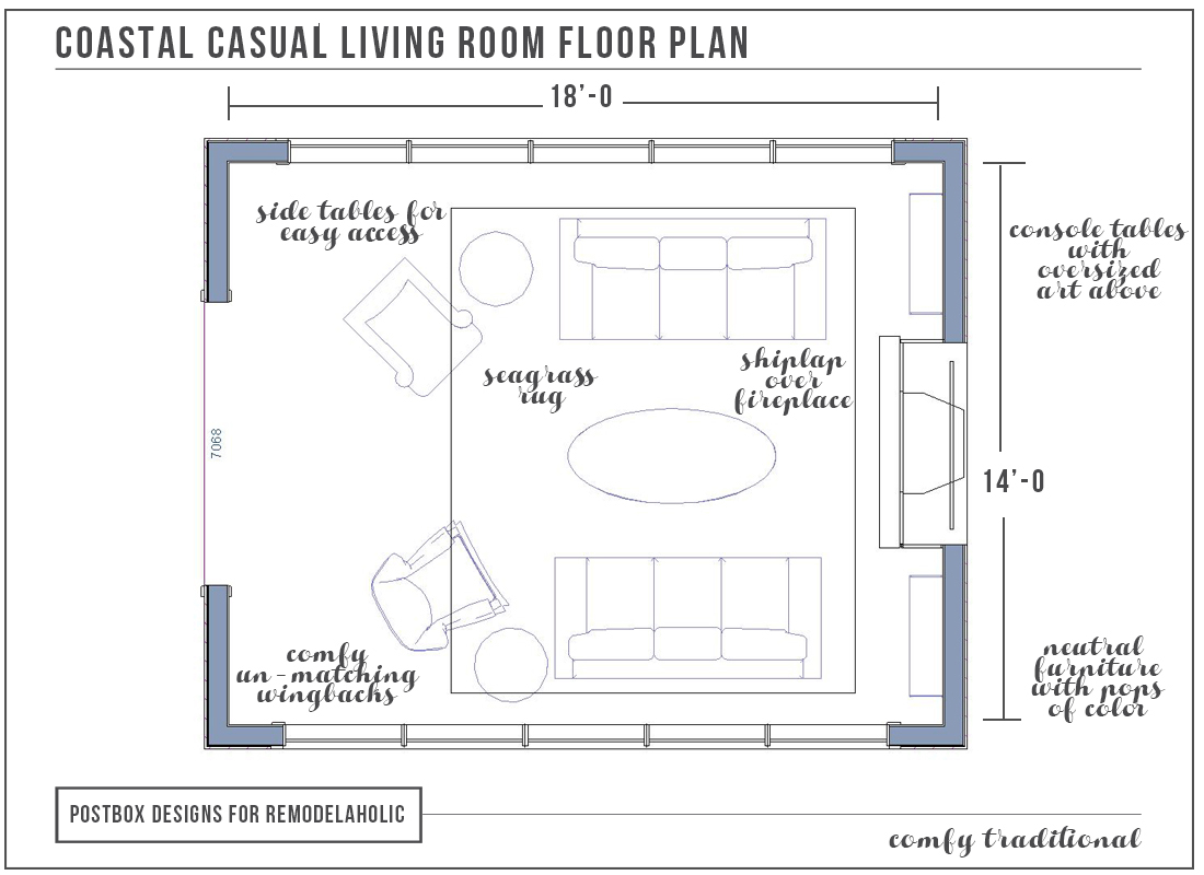 Coastal Living Room Floor Plan By Postbox Designs