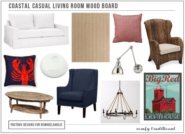 Coastal Casual Living Room Mood Board by Postbox Designs