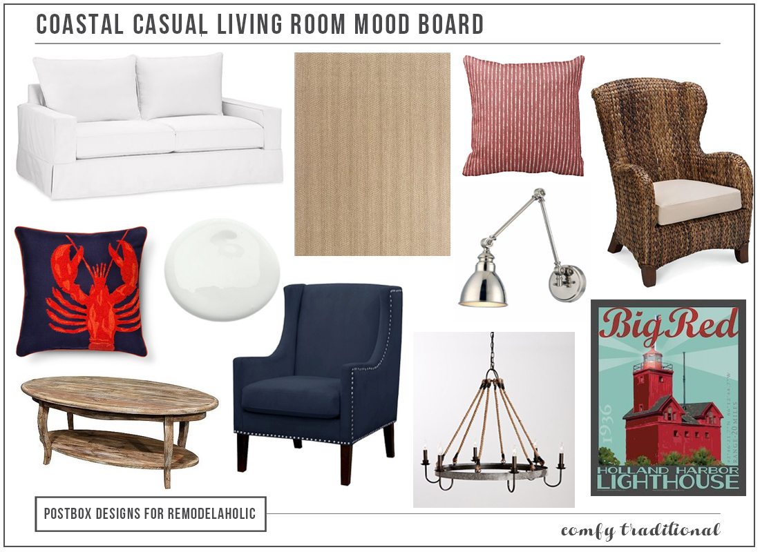 Coastal Casual Living Room Mood Board By Postbox Designs For Remodelaholic