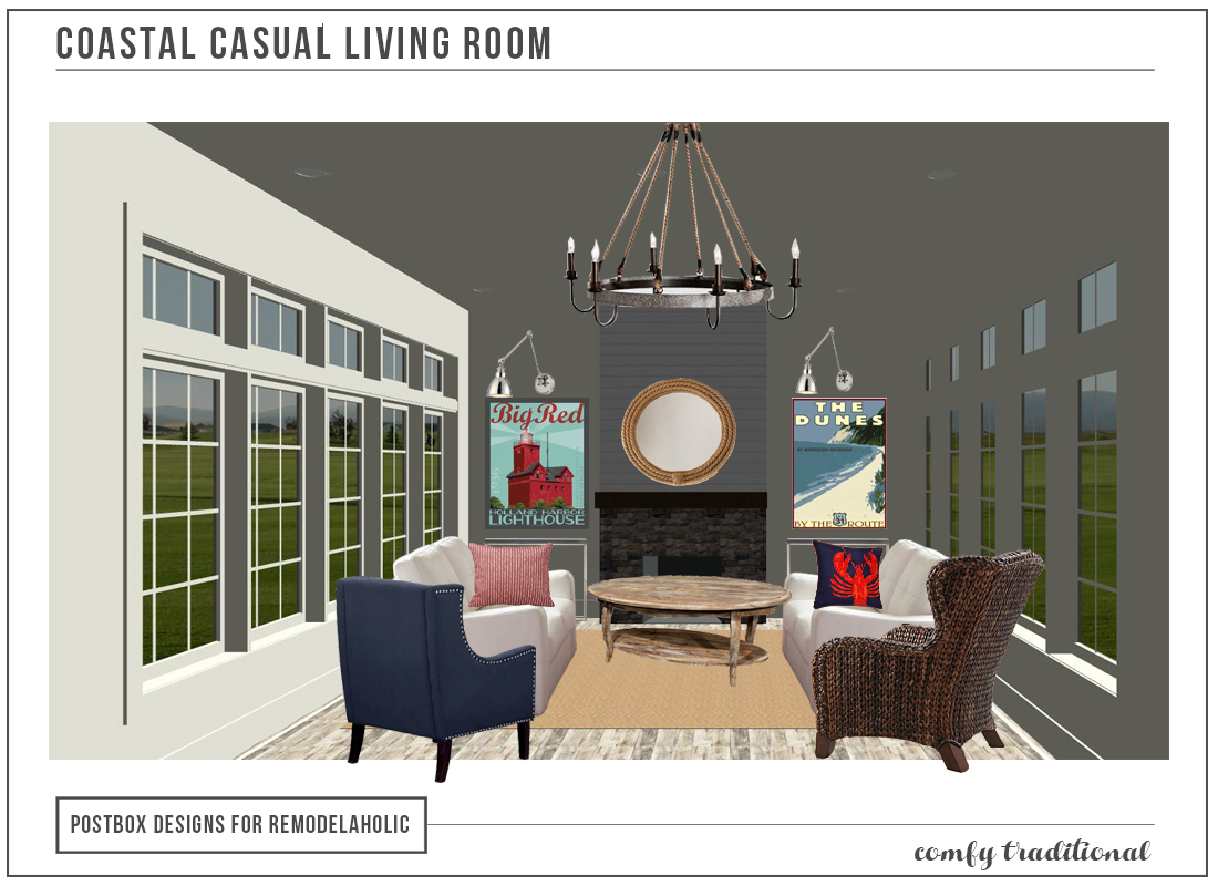 Coastal Casual Living Room Rendering By Postbox Designs