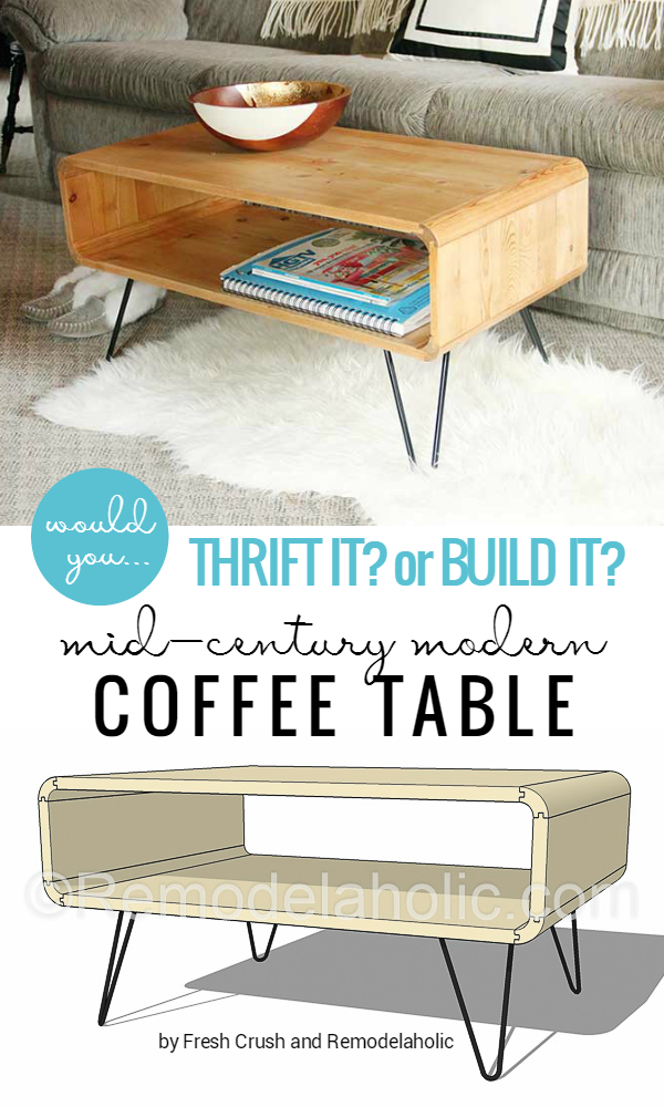 Mid-Century Modern Coffee Table -- made from thrifted cubbies OR build your  own