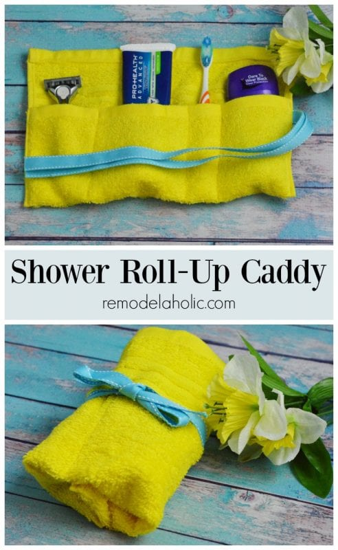 Simple sewing project. Shower Roll-Up Caddy via remodelaholic.com