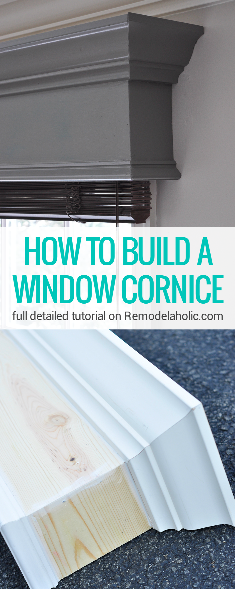 Remodelaholic how to build and hang a window cornice for Diy kitchen remodel steps