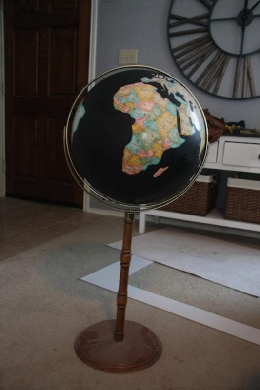 Thrift store globe to black and gold beauty!, by Love and Renovations featured on @Remodelaholic