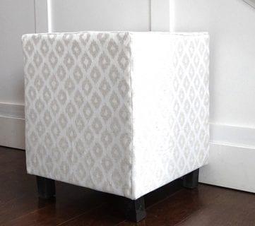 Ballard Designs Inspired Upholstered Cube Ottoman or Stool