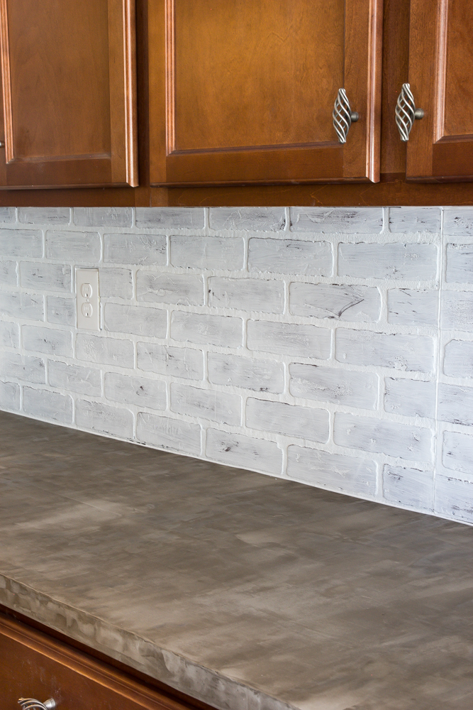 Whitewashed Faux Brick Backsplash 17 Of 18