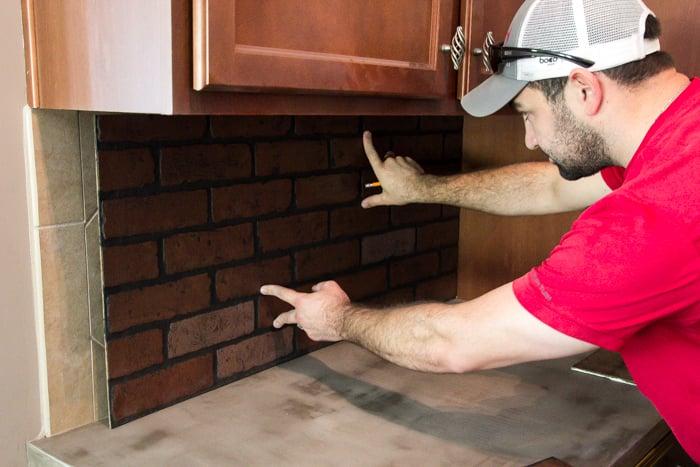Whitewashed faux brick backsplash (6 of 18)