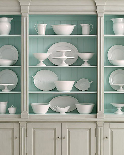 This light blue color is perfect for the back of a bookshelf or inside a hutch with white dishes. (Paint color info in the post)