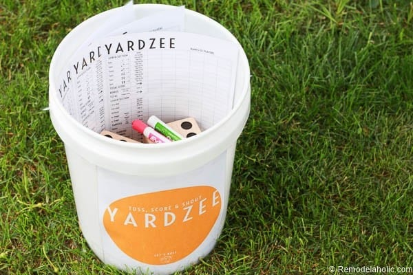 Yardzee Game + Free Printable -- summer fun for the whole neighborhood with this fun yard dice game! Learn to make your own easy yard dice, plus free printable labels and score cards.