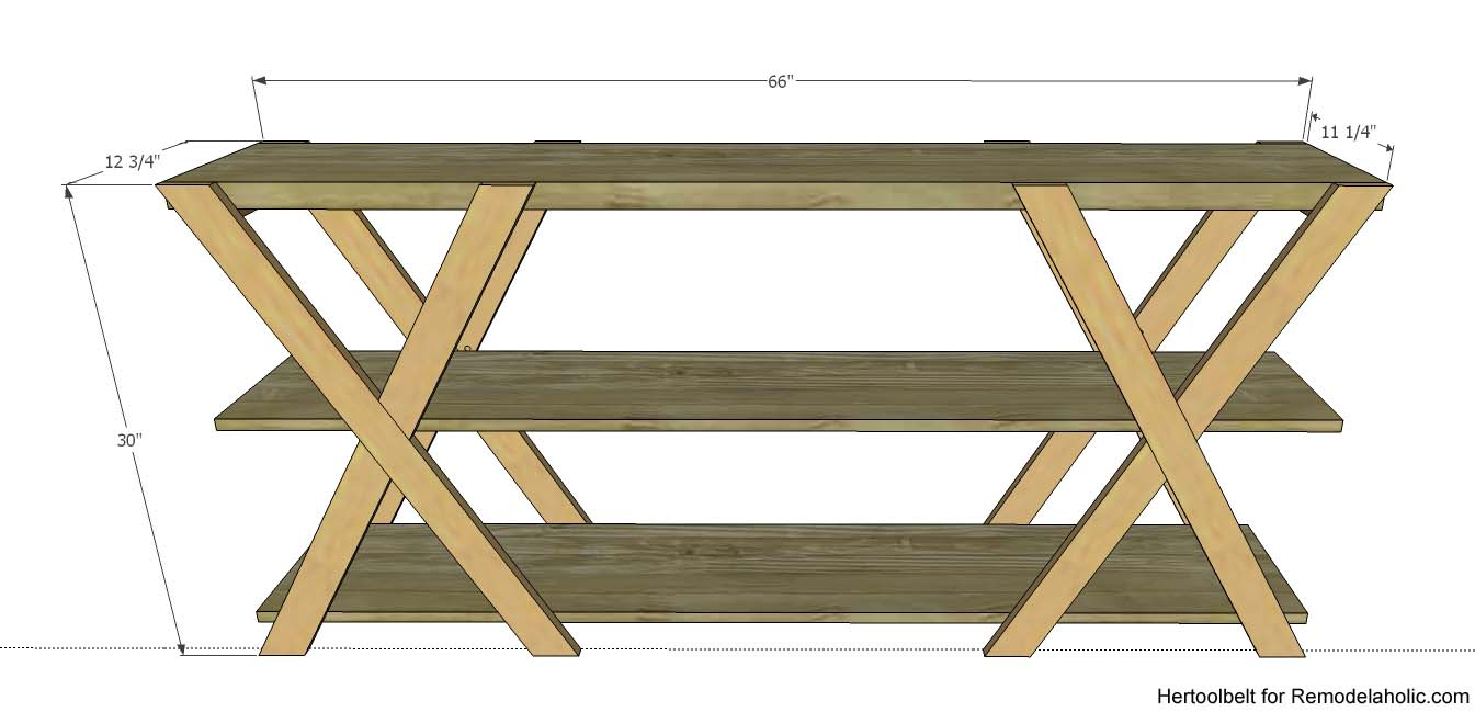 How to make a sofa table from 1 x 6 lumber - An Easy Build Diy Double X Console Table For Your Entryway Build For Less