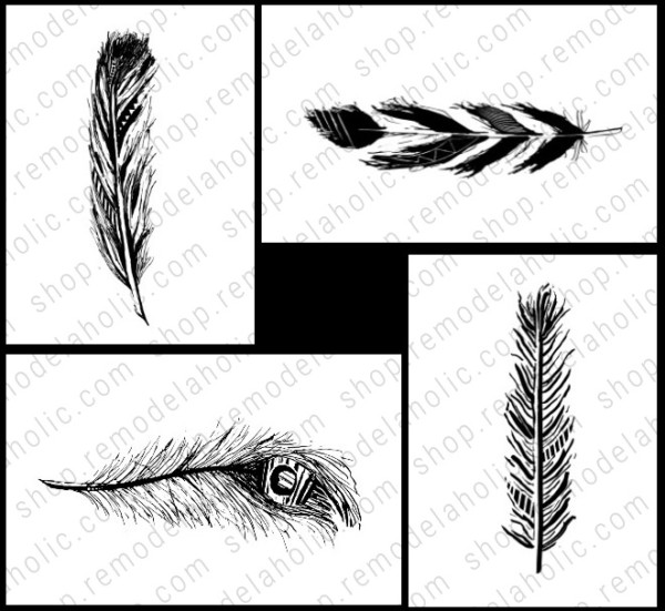 Feather Printable Art Set Of 4 Square Grid, Remodelaholic