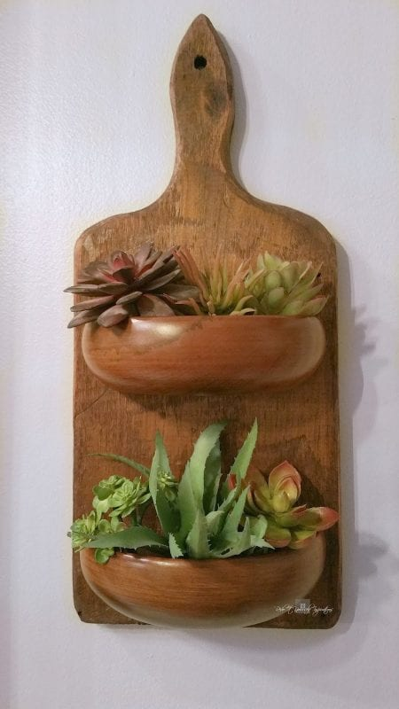 wall planter made from upcycled antique cutting board and wooden bowls, Redo It Yourself Inspirations