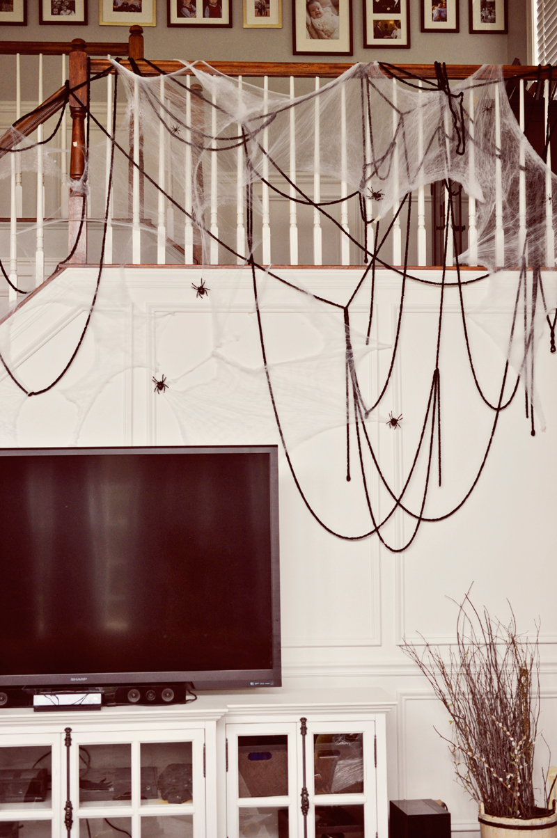 Simple Halloween Decor Part - 33: Oversized Yarn Spider Webs (or Just Draped Thick Yarn!) With Plastic  Spiders Are