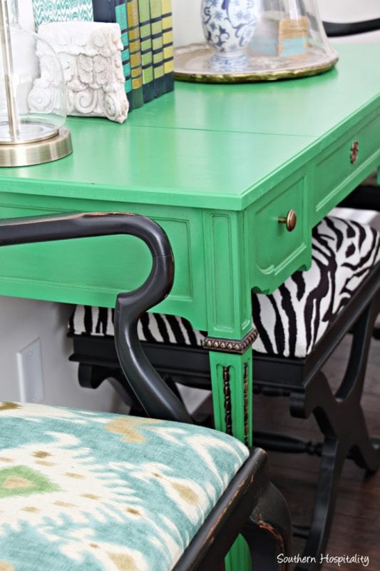 Remodelaholic beautiful green entry table tips for for How to change color of furniture