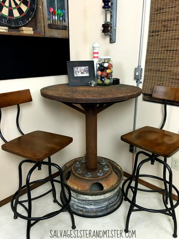 Remodelaholic salvaged diy industrial bar table for Rooms to go bar table