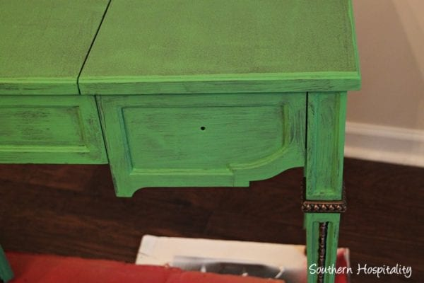 First coat of chalk paint when refinishing furniture, Maison Blanche Chalk Paint in St Anne, by Southern Hospitality featured on @Remodelaholic