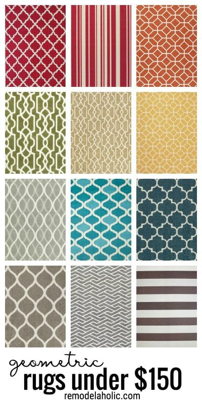 Affordable geometric rugs for under $150 via remodelaholic.com