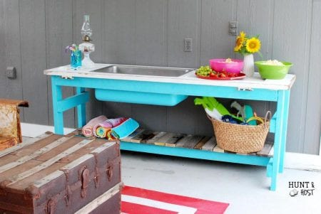 Bright outdoor buffet table Hunt and Host