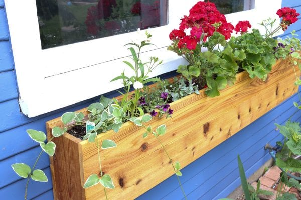 Custom cedar window box planter DIY tutorial