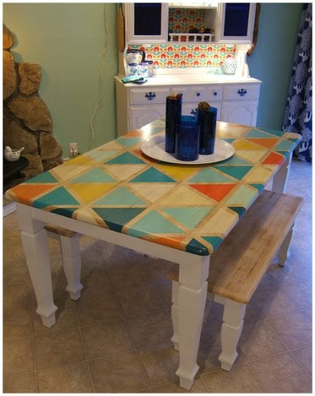 DIY Triange Pattern Kitchen Table Paint-018