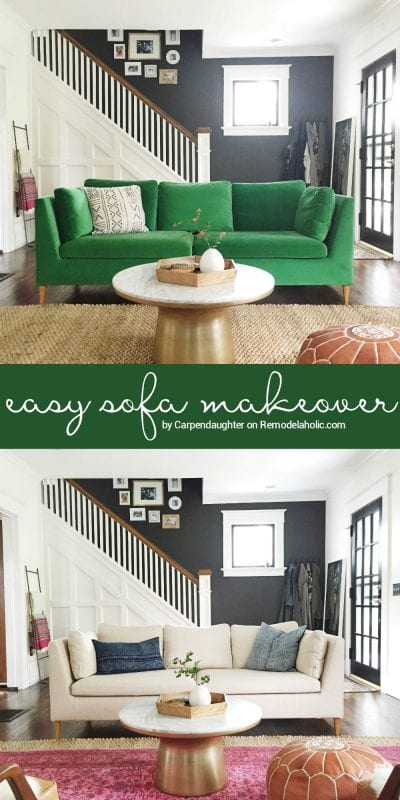 Remodelaholic easily change a room with a custom ikea sofa slipcover - Simple ways of revamping your old sofa ...