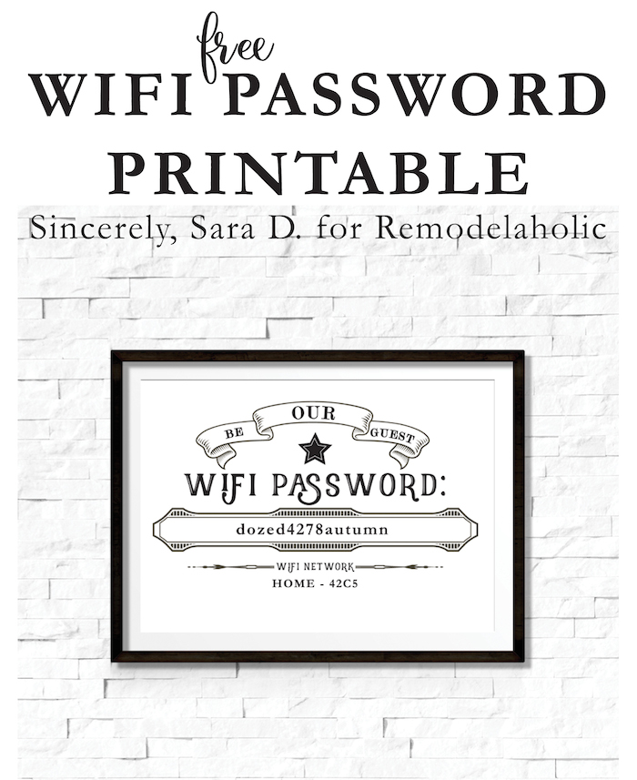 Make your overnight guests and party attendees feel right at home -- where the wifi connects automatically! :) This free guest wifi printable lets you easily share your wifi network and password with those in your home. By Sincerely Sara D. for Remodelaholic.com