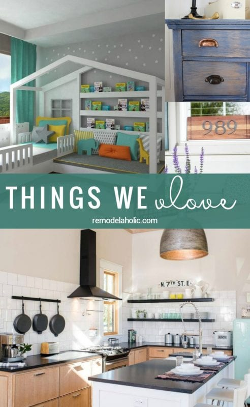 Friday Favorites: A Fixer Upper tiny house, open air kitchen, kids house bed with reading nook 'porch' and more! Remodelaholic.com
