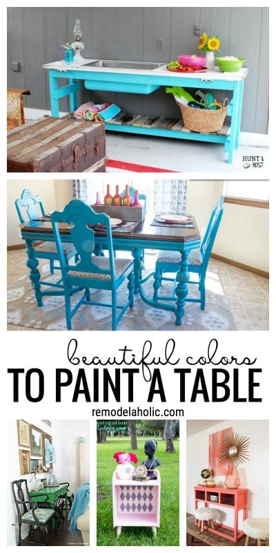 Get creative with paint. Beautiful colors to paint a table via remodelaholic.com