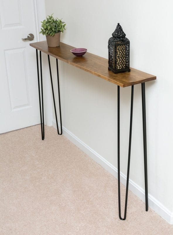 Hairpin Leg Pine Console Table By Brittany Goldwyn