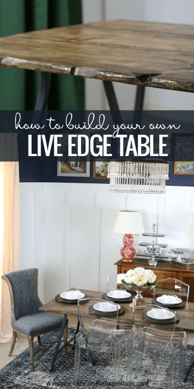 How to build your own (faux) live edge table for about $80. This DIY table is light and easy to move, while also being collapsible -- but it still comfortably seats 6! Tutorial from Windgate Lane on Remodelaholic.com