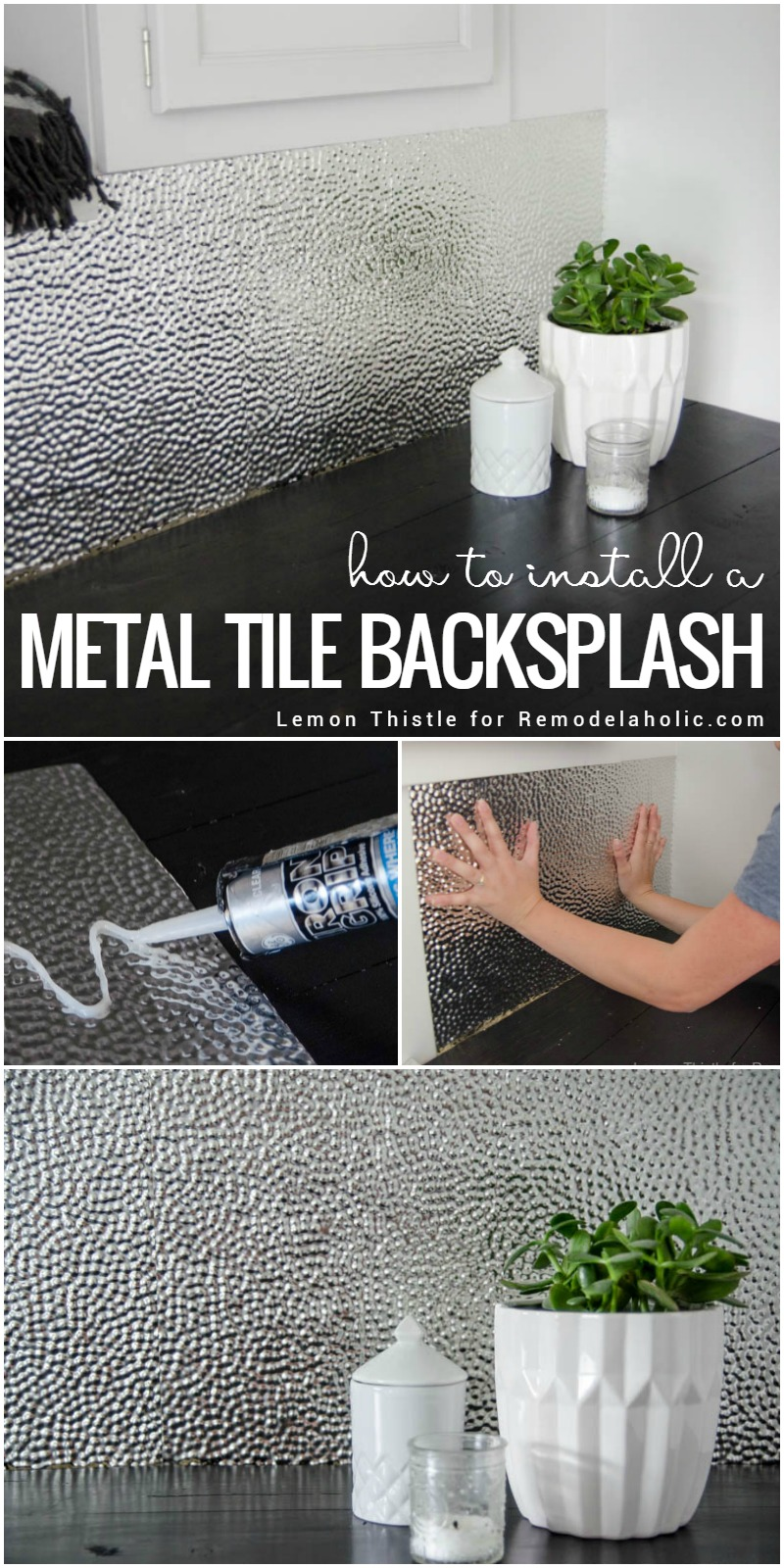 Remodelaholic how to install a metal ceiling tile backsplash learn how to install a unique and modern but easy to clean metal dailygadgetfo Gallery