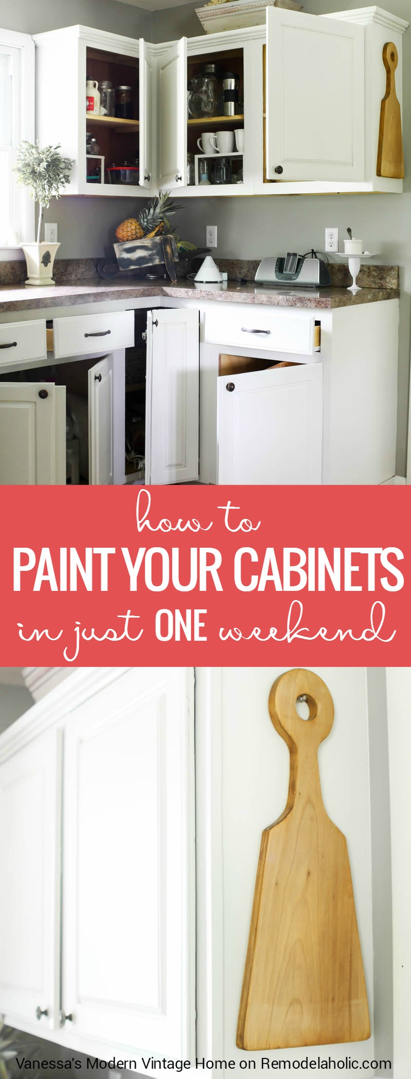 Remodelaholic How To Paint Your Kitchen Cabinets In One