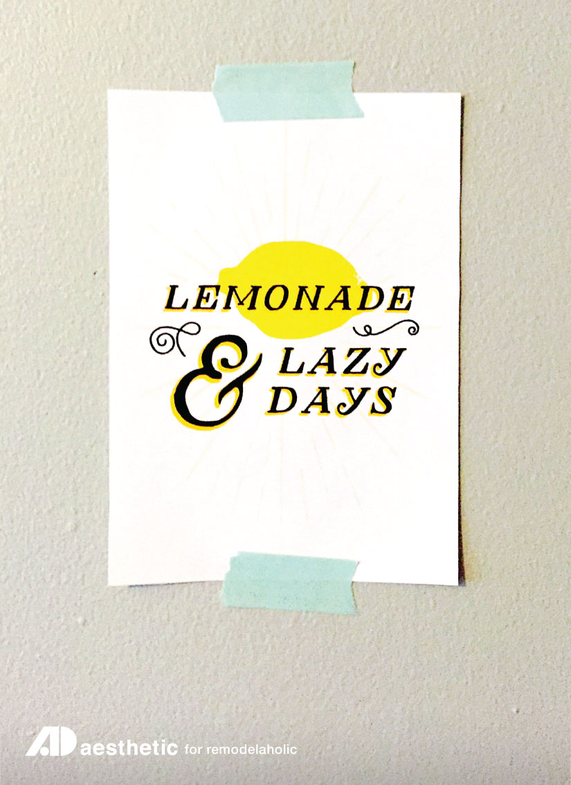 Lemonade & Lazy Days FREE Summer Printable by AD Aesthetic for Remodelaholic.com