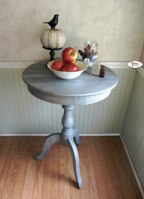 PEDESTAL TABLE with weathered finish patina paradise
