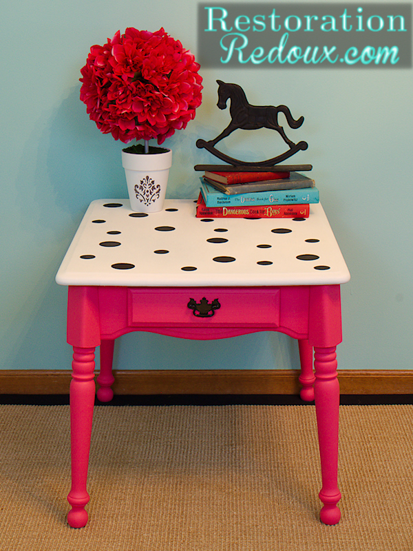 Polka Dot and Pink End Table Restoration Redoux