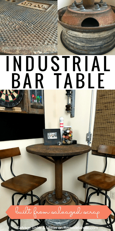 This DIY industrial bar table was built from salvaged scrap metal found along side the road! Such a unique piece for a man cave or game room.