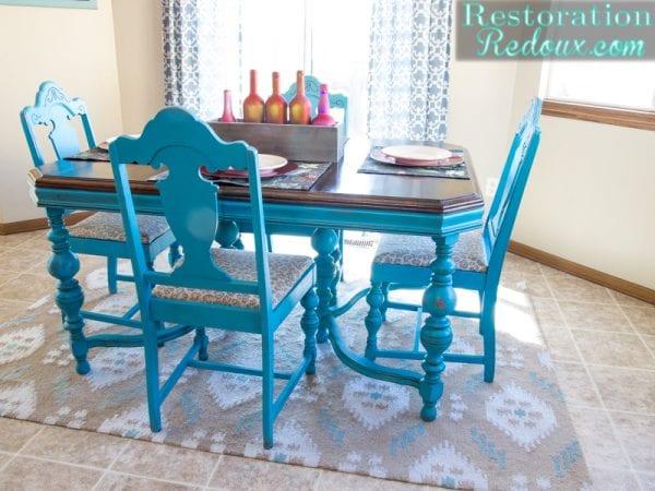 Turquoise Table Set Restoration Redoux