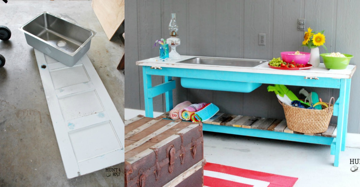 Remodelaholic Upcycled Door Into Outdoor Serving Table